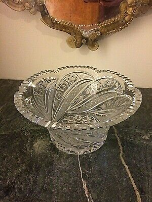 Antique 24% Lead heavy Crystal Round Bowl ,deep cuts in a lovely pattern.