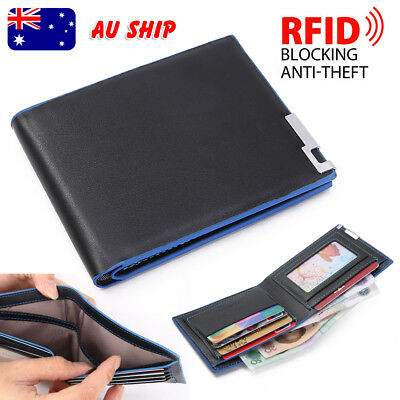 Black Mens Slim Card Holder Bifold GENUINE Leather Wallet Purse Stylish Short
