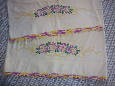 Pair Vintage embroidered pillowcases with Pansies