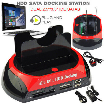 2.5″ 3.5″ Dual Hard Drive HDD Docking Station USB Dock Card Reader IDE SATA J A!