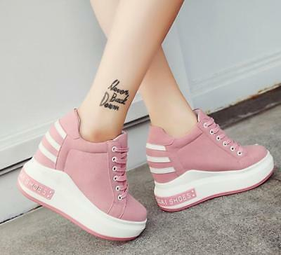 4c7d21016 Womens Girls Pink Lace Up High Hidden Wedge Heels Sport Sneakers Platform  Shoes