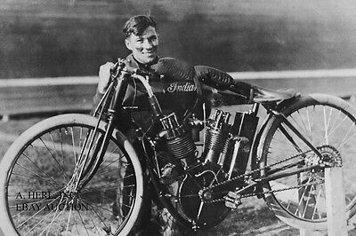 Indian 8 valve 61ci V-twin 1912 works racer & Ray Seymour –boardtrack 1912–photo