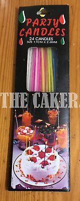 Long Thin Birthday Cake Candles x 24 - 4 colours - Free 1st class postage