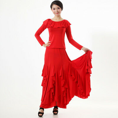 NEW Latin salsa tango rumba Cha cha Ballroom Dance Dress Top & Skirt#N018