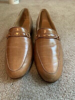 e2053c0b6833 GUCCI Iconic Mens 1970's VINTAGE Taupe Leather Slip-On Loafer Dress Shoe 40  ...