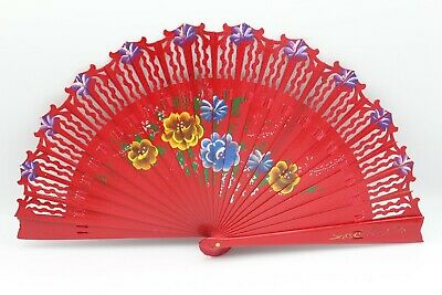 Quality Spanish Vintage Hand Painted Dance Bamboo Wood Folding Hand Fan 6 Colors