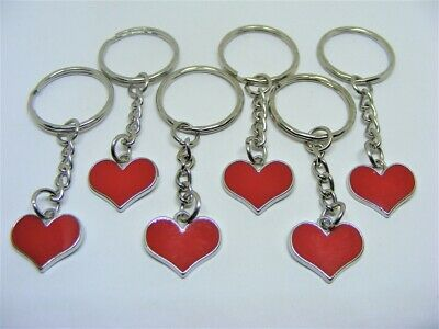 6 X Entwined Heart Keyrings Party Bags Stocking Fillers Lucky Dip Prizes