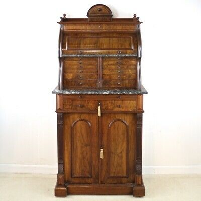 Antique 19th Century Victorian Burr Walnut Dentist's or Collector's Cabinet