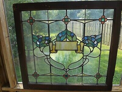 Antique Vintage Leaded Stained Glass Window Sash Salvage Art Nouveau Slag 1900s