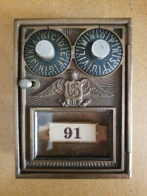 Antique U.s. Eagle P.o. Post Office Mail Box Door Double Dial Lock Usps
