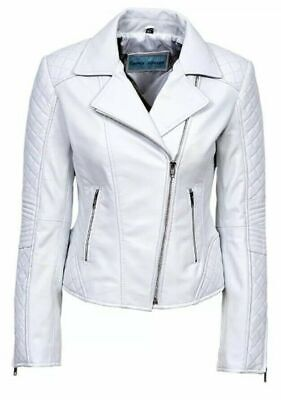 Ladies JESSIE White Stylish Awesome Design Quilted Soft Leather classic Jacket