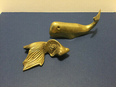 (2) Vintage Brass Nautical Figurines - Whale and Fish