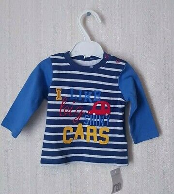 Mothercare Long Sleeves I Like BIG Shiny Cars T-shirt Age up to 3 months