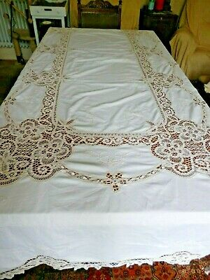 Large Antique Vintage Tableclocth Battenburg Tape Lace and White Embroidery 9.5'