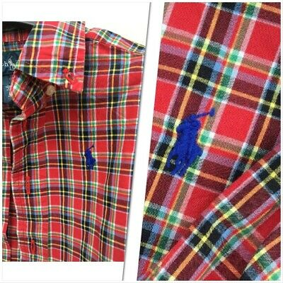 Ralph Lauren Boys Smart Check Checked Shirt Blue Tartan Plaid Cotton Collar 12m