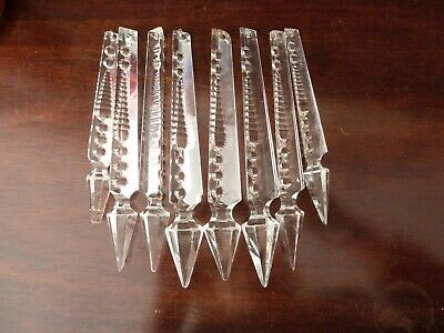 8 Antique Cut Crystal Faceted Lustre or Wall Light Drops, Graduated