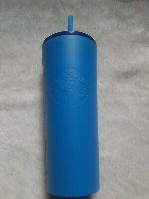 NEW 2018 STARBUCKS COLD CUP BLUE STAINLESS STEEL TUMBLER 16 fl oz