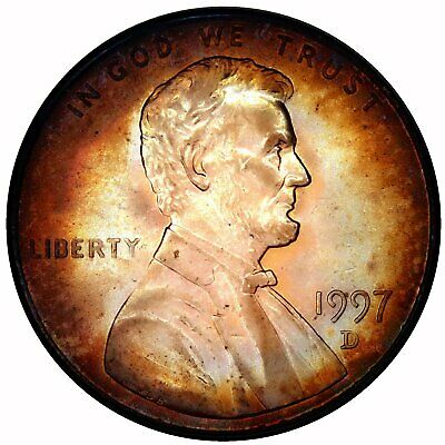 1997 D Copper Lincoln Cent  Mint Bu Coin Toned Toning