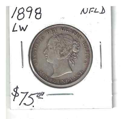 1898 Canada Newfoundland 50 Cents large w Silver coin