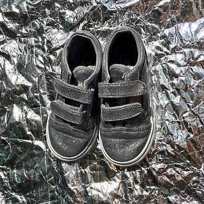 Converse All Star Infant Size 8 Sparkly Trainers Grwy Silver Baby Girls Shoes