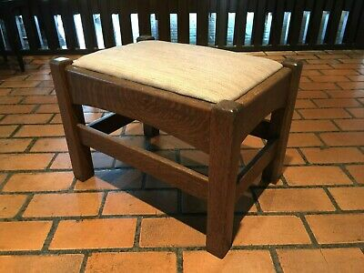 Antique Mission Arts And Crafts Footstool Quarter Sawn Oak Ottoman