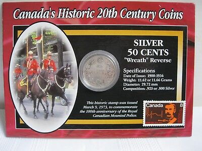 Canada's Historic 20th Century Coins 1919 Silver Fifty Cents with Card and Stamp