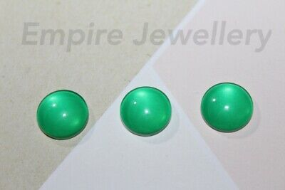 2 x Plain Green Colour 12x12mm Glass Cabochons Cameo Dome Turquoise Aquamarine