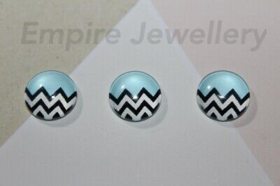 2 x Black & White Chevron Pattern on Blue 12x12mm Glass Dome Cabochon