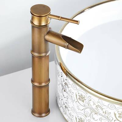 Traditional Bathroom Basin Mixer Taps Brass Luxury Antique Bamboo Sink Faucet