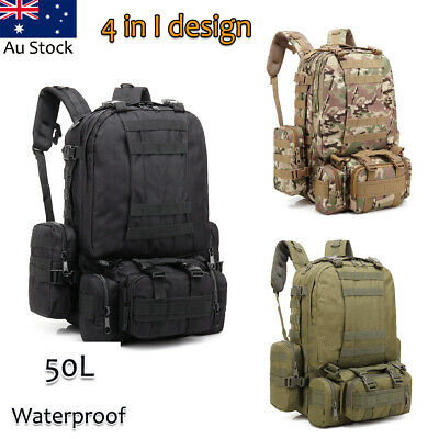 Outdoor 4 In 1 50L Hiking Camping Bag Army Military Tactical Rucksacks Backpack