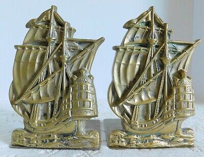Beautiful Tall Vintage Solid Brass Sailing Ship Clipper Boat Nautical Bookends