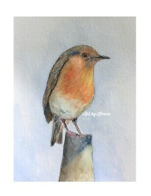 PAINTING ORIGINAL ONE OFF robin Red Breast Unframed 12cm X 16cm Free Gift Card