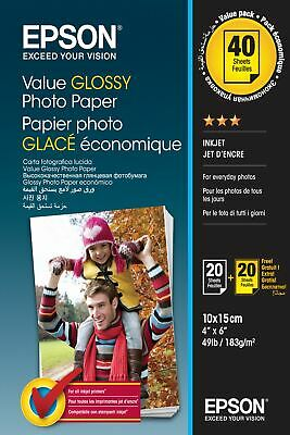 Epson Value Glossy - 10x15cm - 2x 20 sheets photo paper C13S400044