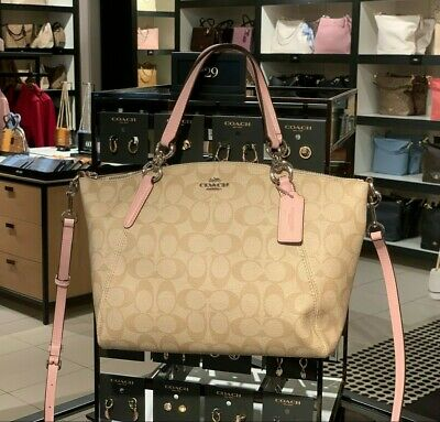 946256f31 New Coach F28989 small Kelsey Coated Canvas Satchel $298 Light Khaki /Carnation