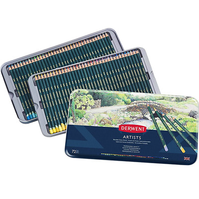 NEW IN TIN 72x DERWENT ARTISTS Pencils Colouring Set Full Range Colours Complete