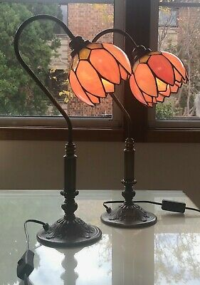 Pair of TIFFANY STYLE Pink Lotus Flower Lead Light Lamps w Decorative Brass Base