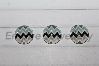 2 x Lovely Multicolour Chevron Pattern #3 12x12mm Glass Dome Cabochon
