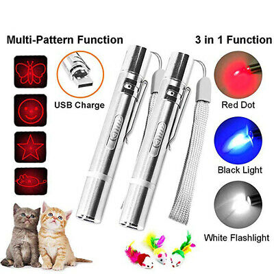 3 in 1 Pet Play Cat Toy LED Light Red Laser Pointer Pen USB Rechargeable Gift