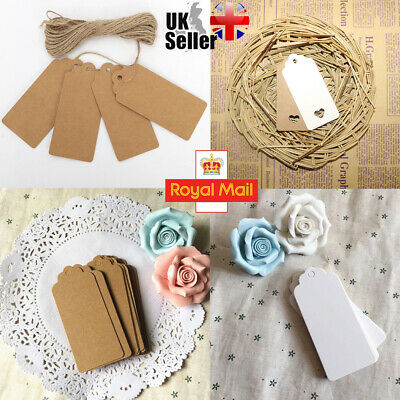50/100 Kraft Paper Gift Tags Scallop Label Paper Card Wedding Blank + Strings UK