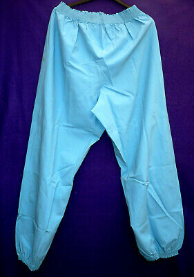 Blue Malaysian latex rubber long pants joggers pyjamas nightwear  G4 medum