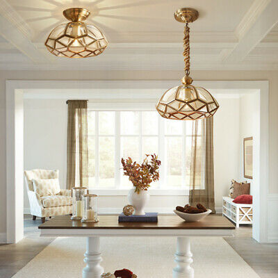 French Country Brass Round Shade 1 Lamp Glass Porch Ceiling Lights&Pendant Light