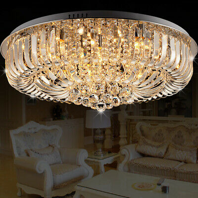 Modern Round Curved Crystal Flushmount Lamp Ceiling Light for Living Room