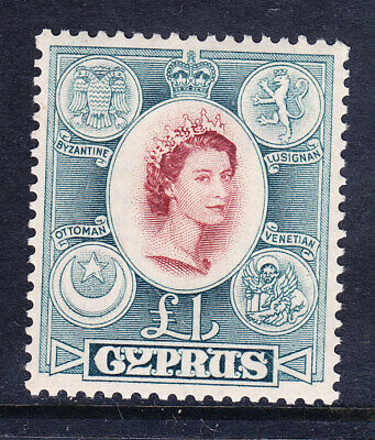 CYPRUS QEII 1955 SG187 £1 very light gum wrinkle - unmounted mint. Catalogue £30