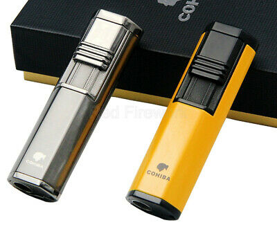 COHIBA Fashion Portable Windproof 2 Torch Jet Flame Cigar lighter W/ Punch