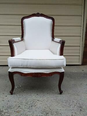 French Style Mahogany  Carved High Back  Bergere Armchair In Off White Fabric