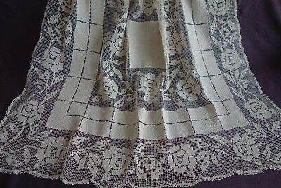 Vintage Antique Handmade Darned Net Lace Filet Buratto Style Linen Tablecloth