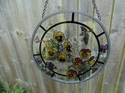 Stained Glass Window Hanging Plaque - Pansies, Butterflies And A Swallow