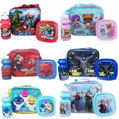 Childrens Kids Insulated 3pcs Lunch Bag Set Box Kids Boys Girls School Food