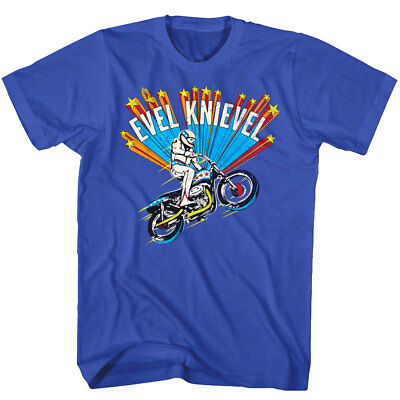 Evel Knievel Shooting Stars Motorcycle Jump Men's T Shirt Stunt Bike Rider Icon