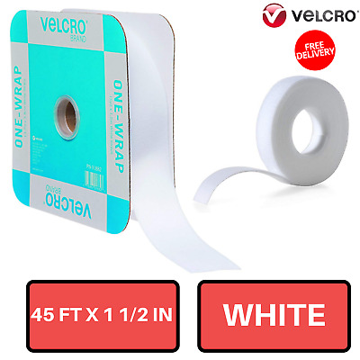 "Self Gripping Hook And Loop White Tape 45' x 1 1/2"" Roll Reusable Velcro Brand"